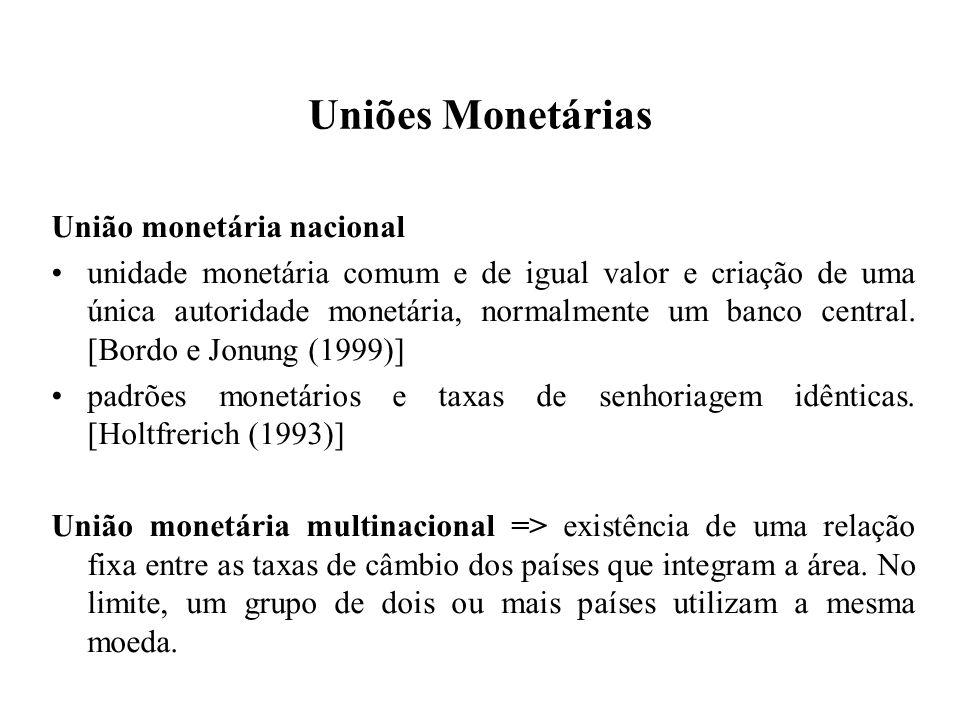 Uniões Monetárias União monetária nacional unidade monetária comum e de igual valor e criação de uma única autoridade monetária, normalmente um banco central.