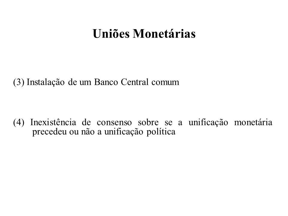 Uniões Monetárias (3) Instalação de um Banco Central comum (4) Inexistência de consenso sobre se a unificação monetária precedeu ou não a unificação política