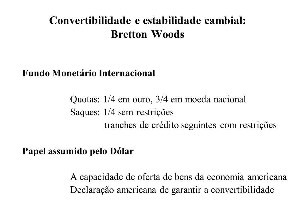 Convertibilidade e estabilidade cambial: Bretton Woods O problema para o funcionamento do sistema A escassez de liquidez internacional Como se resolveu.