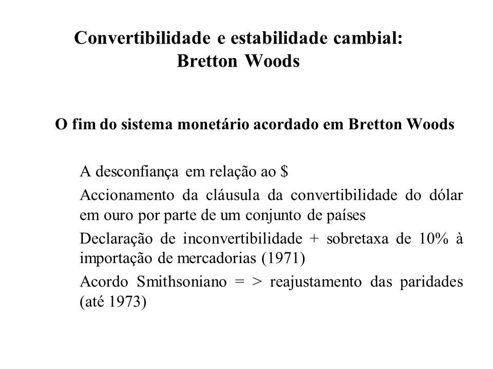 Convertibilidade e estabilidade cambial: Bretton Woods Da bibliografia recomendada ver: Eichengreen, Barry (1999), capítulo 3.