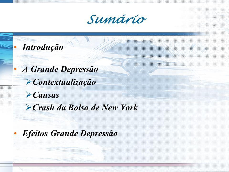 Introdução A Grande Depressão Contextualização Causas Crash da Bolsa de New York Efeitos Grande Depressão Sumário