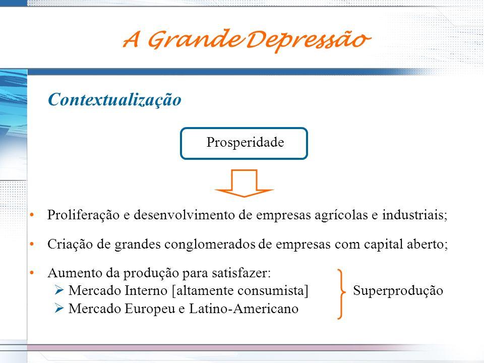 Contextualização Prosperidade Proliferação e desenvolvimento de empresas agrícolas e industriais; Criação de grandes conglomerados de empresas com cap