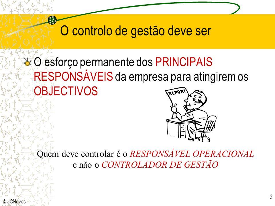 © JCNeves 2 O controlo de gestão deve ser O esforço permanente dos PRINCIPAIS RESPONSÁVEIS da empresa para atingirem os OBJECTIVOS Quem deve controlar