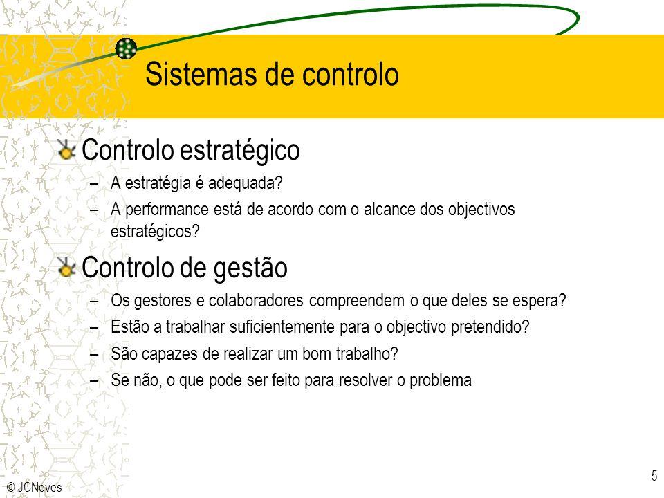 © JCNeves 6 Instrumentos dos sistemas de controlo Controlo estratégico –Análise da industria –Análise SWOT Controlo de gestão –Como conduzir e motivar os colaboradores para os objectivos.