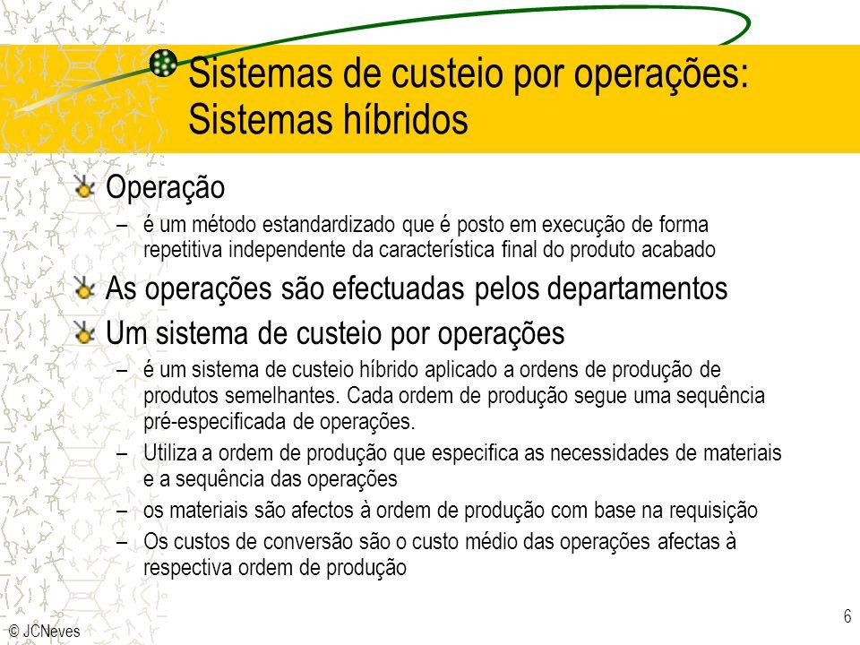 © JCNeves 6 Sistemas de custeio por operações: Sistemas híbridos Operação –é um método estandardizado que é posto em execução de forma repetitiva inde