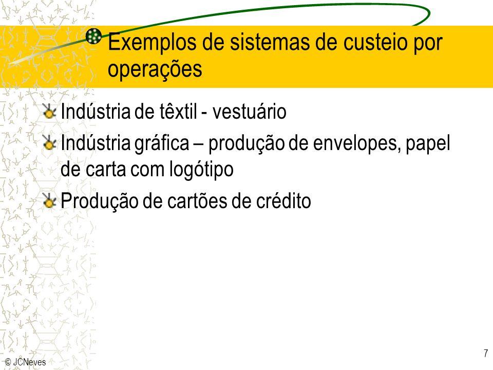© JCNeves 7 Exemplos de sistemas de custeio por operações Indústria de têxtil - vestuário Indústria gráfica – produção de envelopes, papel de carta com logótipo Produção de cartões de crédito