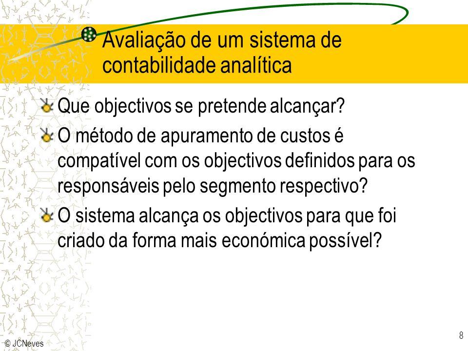 © JCNeves 8 Avaliação de um sistema de contabilidade analítica Que objectivos se pretende alcançar? O método de apuramento de custos é compatível com