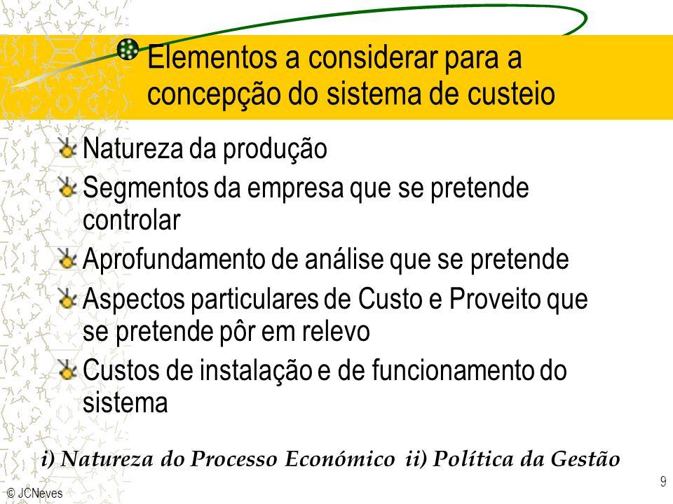 © JCNeves 9 Elementos a considerar para a concepção do sistema de custeio Natureza da produção Segmentos da empresa que se pretende controlar Aprofund