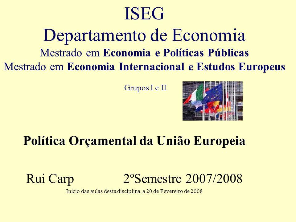 2 Programa I.Política Orçamental em federalismo financeiro II.