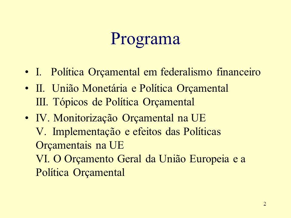 3 Conteúdo: Com base nos conceitos já apreendidos ao nível da licenciatura, em especial nas matérias relativas a Economia e Finanças Públicas e a Macroeconomia, pretende-se analisar e fixar os conceitos, tanto normativos como positivos, da intervenção dos poderes públicos na economia por via dos instrumentos orçamentais, no contexto de integração europeia, em geral, e da união económica e monetária, em especial.