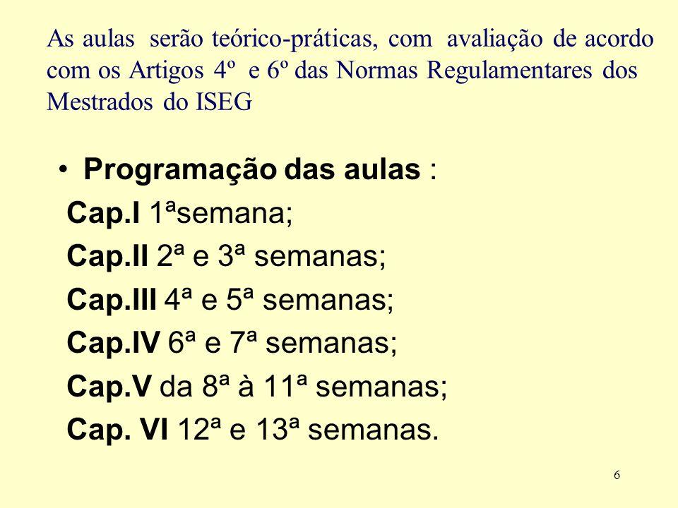 7 Desenvolvimento do programa (Capítulos I a III) I.