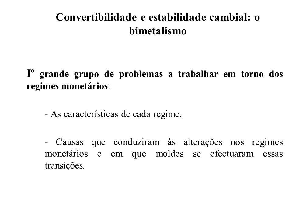 Convertibilidade e estabilidade cambial: o bimetalismo Iº grande grupo de problemas a trabalhar em torno dos regimes monetários: - As características