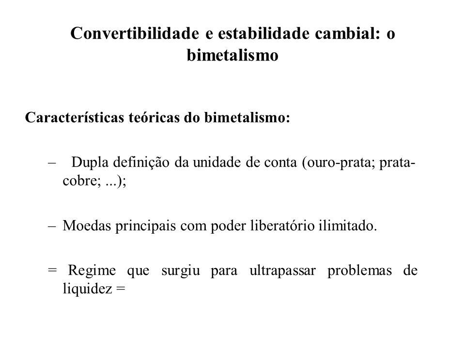 Convertibilidade e estabilidade cambial: o bimetalismo Características teóricas do bimetalismo: –Dupla definição da unidade de conta (ouro-prata; prat