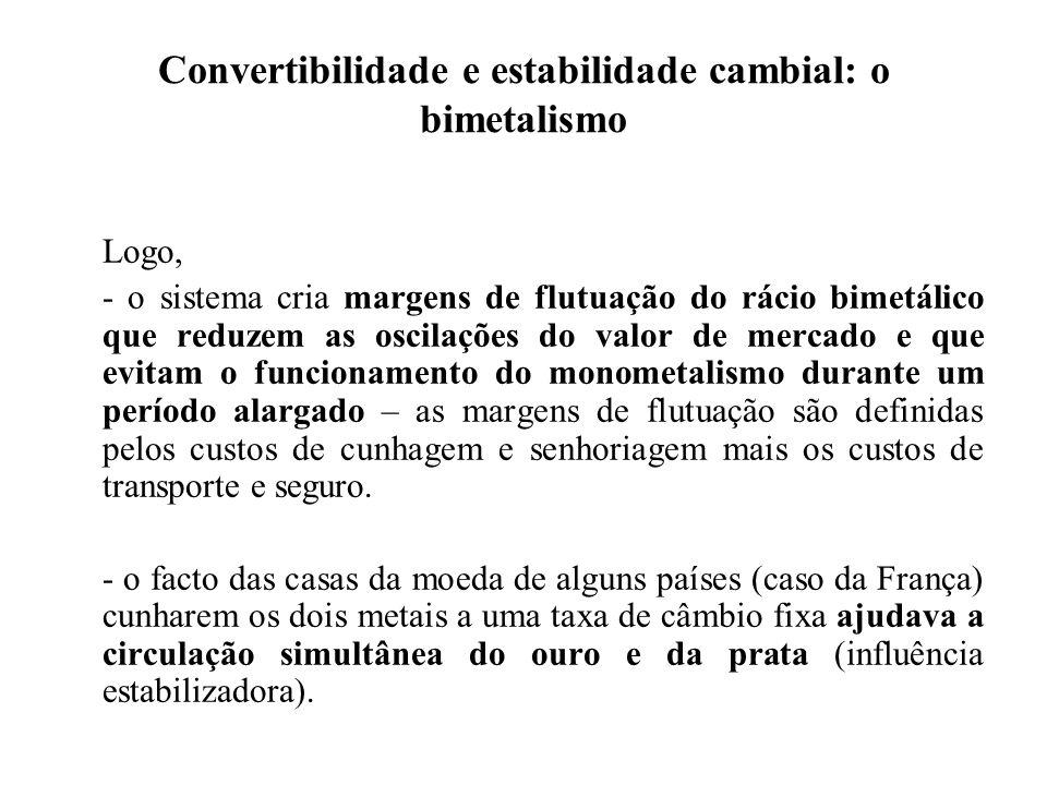 Convertibilidade e estabilidade cambial: o bimetalismo Logo, - o sistema cria margens de flutuação do rácio bimetálico que reduzem as oscilações do va