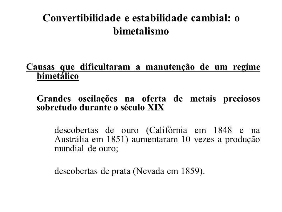 Convertibilidade e estabilidade cambial: o bimetalismo Apesar destas dificuldades o regime bimetálico manteve-se – porquê.