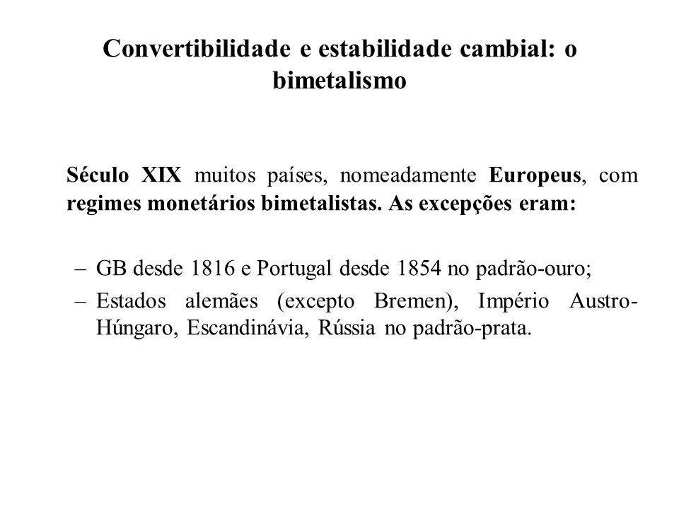Convertibilidade e estabilidade cambial: o bimetalismo Século XIX muitos países, nomeadamente Europeus, com regimes monetários bimetalistas. As excepç