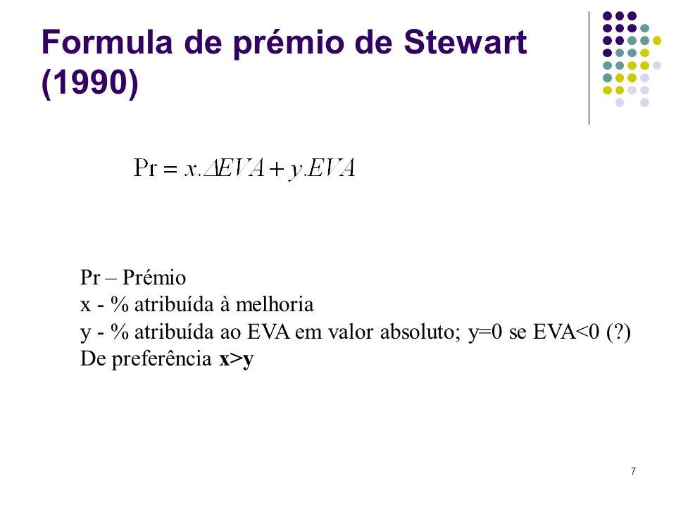 7 Formula de prémio de Stewart (1990) Pr – Prémio x - % atribuída à melhoria y - % atribuída ao EVA em valor absoluto; y=0 se EVA<0 (?) De preferência