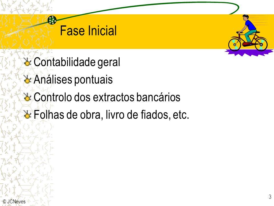 © JCNeves 3 Fase Inicial Contabilidade geral Análises pontuais Controlo dos extractos bancários Folhas de obra, livro de fiados, etc.