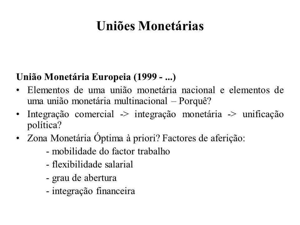 Uniões Monetárias União Monetária Europeia (1999 -...) Elementos de uma união monetária nacional e elementos de uma união monetária multinacional – Po