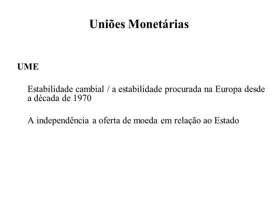 Uniões Monetárias UME Estabilidade cambial / a estabilidade procurada na Europa desde a década de 1970 A independência a oferta de moeda em relação ao