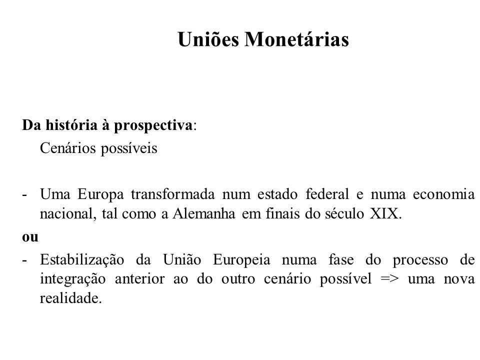 Uniões Monetárias Mas, lições da história também demonstram que mesmo o período do padrão-ouro clássico apresentou um sistema monetário que não funcionou espontaneamente => flexibilidade e cooperação (vd texto de Michael Bordo, 1981).