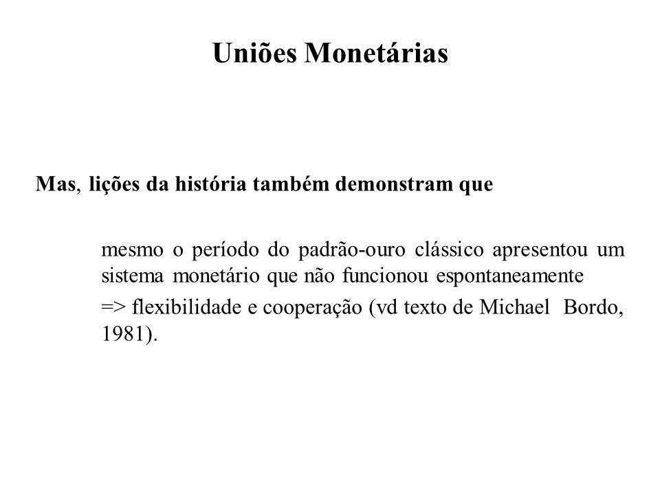 Uniões Monetárias Mas, lições da história também demonstram que mesmo o período do padrão-ouro clássico apresentou um sistema monetário que não funcio