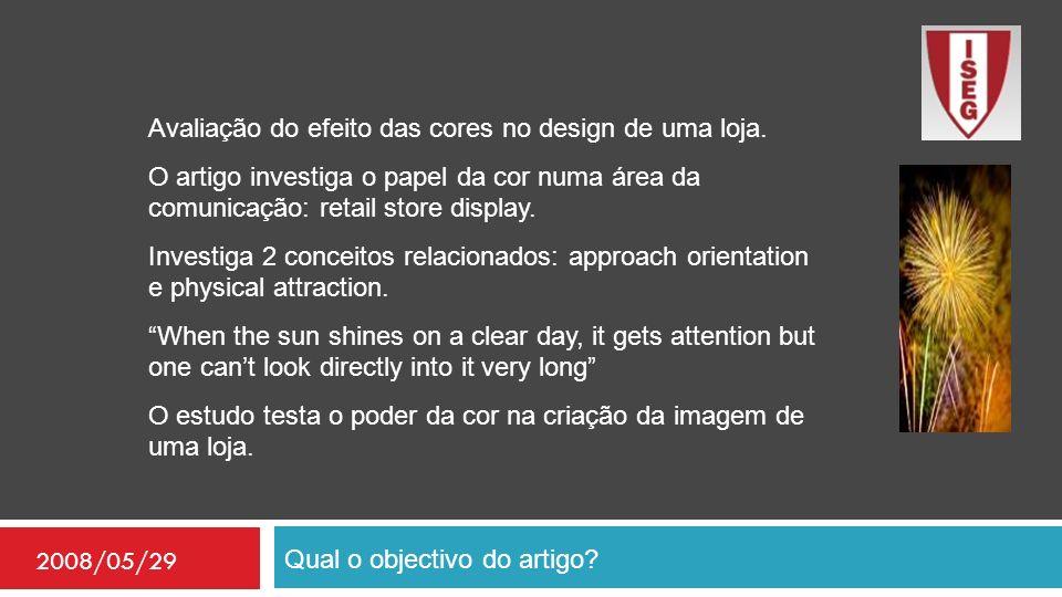 Qual o objectivo do artigo? 2008/05/29 Avaliação do efeito das cores no design de uma loja. O artigo investiga o papel da cor numa área da comunicação