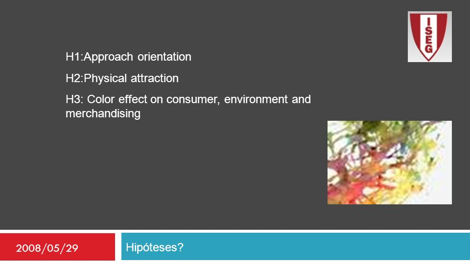 Hipóteses? 2008/05/29 H1:Approach orientation H2:Physical attraction H3: Color effect on consumer, environment and merchandising