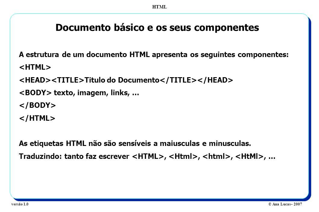 HTML © Ana Lucas– 2007versão 1.0 Documento básico e os seus componentes A estrutura de um documento HTML apresenta os seguintes componentes: Titulo do