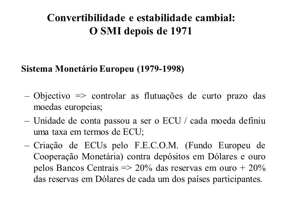 Convertibilidade e estabilidade cambial: O SMI depois de 1971 Sistema Monetário Europeu (1979-1998) –Objectivo => controlar as flutuações de curto prazo das moedas europeias; –Unidade de conta passou a ser o ECU / cada moeda definiu uma taxa em termos de ECU; –Criação de ECUs pelo F.E.C.O.M.