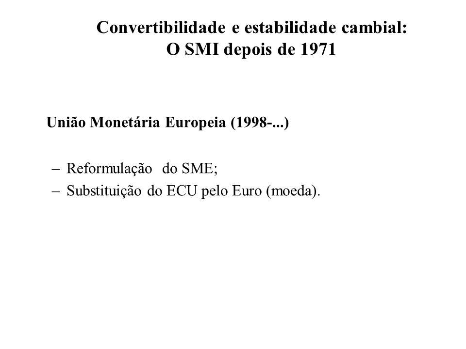 Convertibilidade e estabilidade cambial: O SMI depois de 1971 União Monetária Europeia (1998-...) –Reformulação do SME; –Substituição do ECU pelo Euro