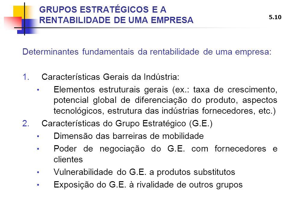 5.10 GRUPOS ESTRATÉGICOS E A RENTABILIDADE DE UMA EMPRESA Determinantes fundamentais da rentabilidade de uma empresa: 1.Características Gerais da Indú