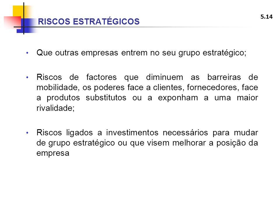 5.14 RISCOS ESTRATÉGICOS Que outras empresas entrem no seu grupo estratégico; Riscos de factores que diminuem as barreiras de mobilidade, os poderes f