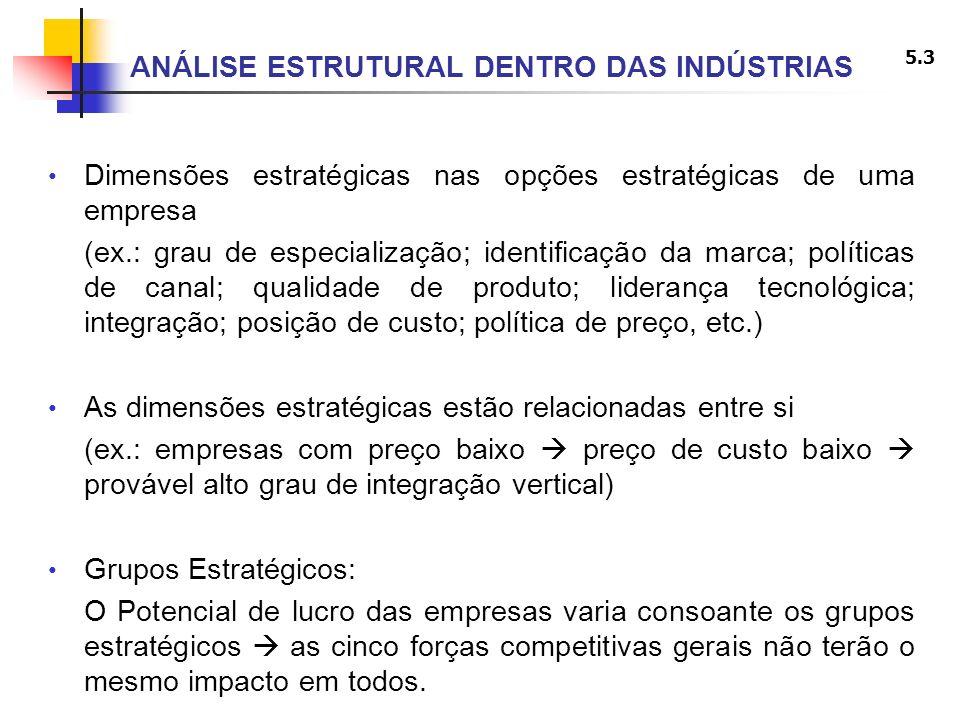 5.4 ANÁLISE ESTRUTURAL DENTRO DAS INDÚSTRIAS Subconjuntos de empresas com a mesma estratégia ou estratégia semelhante ao longo das dimensões estratégicas (variáveis estratégicas) relevantes Grupos Estratégicos de um dado sector