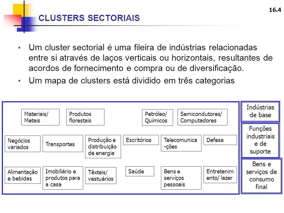 16.4 Um cluster sectorial é uma fileira de indústrias relacionadas entre si através de laços verticais ou horizontais, resultantes de acordos de fornecimento e compra ou de diversificação.
