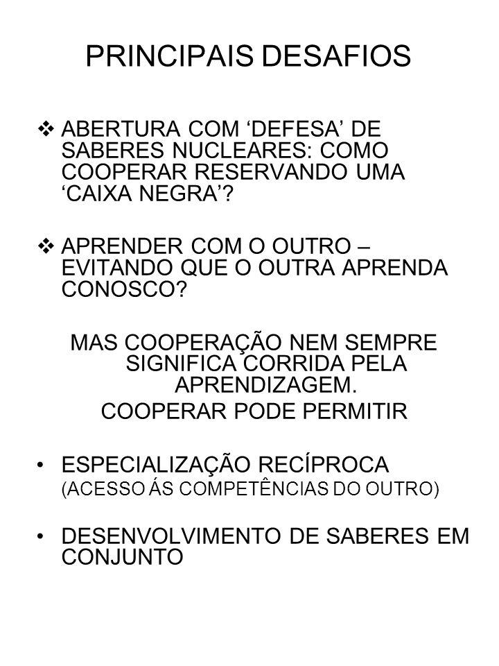 PRINCIPAIS DESAFIOS ABERTURA COM DEFESA DE SABERES NUCLEARES: COMO COOPERAR RESERVANDO UMA CAIXA NEGRA.