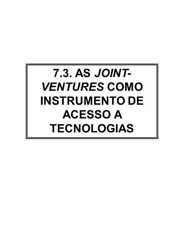 7.3. AS JOINT- VENTURES COMO INSTRUMENTO DE ACESSO A TECNOLOGIAS