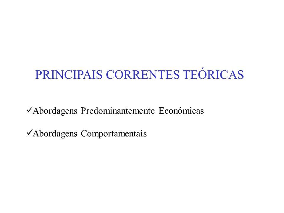 PRINCIPAIS CORRENTES TEÓRICAS Abordagens Predominantemente Económicas Abordagens Comportamentais