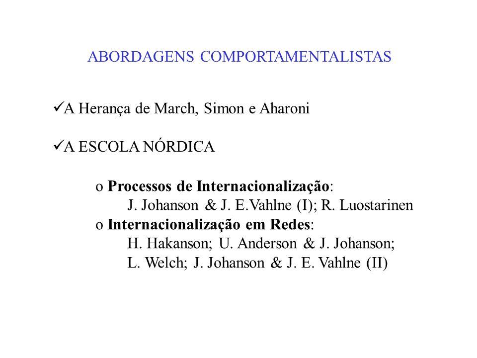 ABORDAGENS COMPORTAMENTALISTAS A Herança de March, Simon e Aharoni A ESCOLA NÓRDICA o Processos de Internacionalização: J. Johanson & J. E.Vahlne (I);