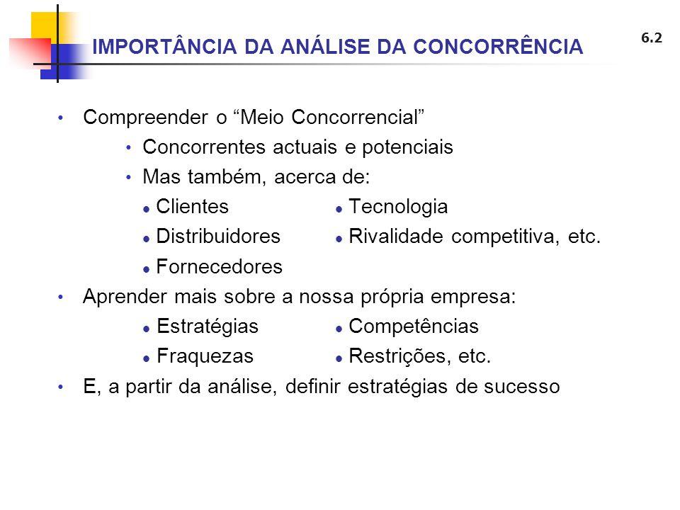 6.2 IMPORTÂNCIA DA ANÁLISE DA CONCORRÊNCIA Compreender o Meio Concorrencial Concorrentes actuais e potenciais Mas também, acerca de: Clientes Tecnolog