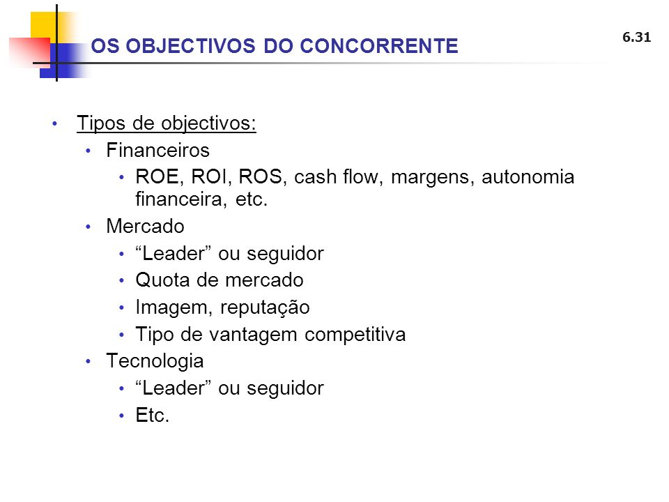 6.31 Tipos de objectivos: Financeiros ROE, ROI, ROS, cash flow, margens, autonomia financeira, etc. Mercado Leader ou seguidor Quota de mercado Imagem