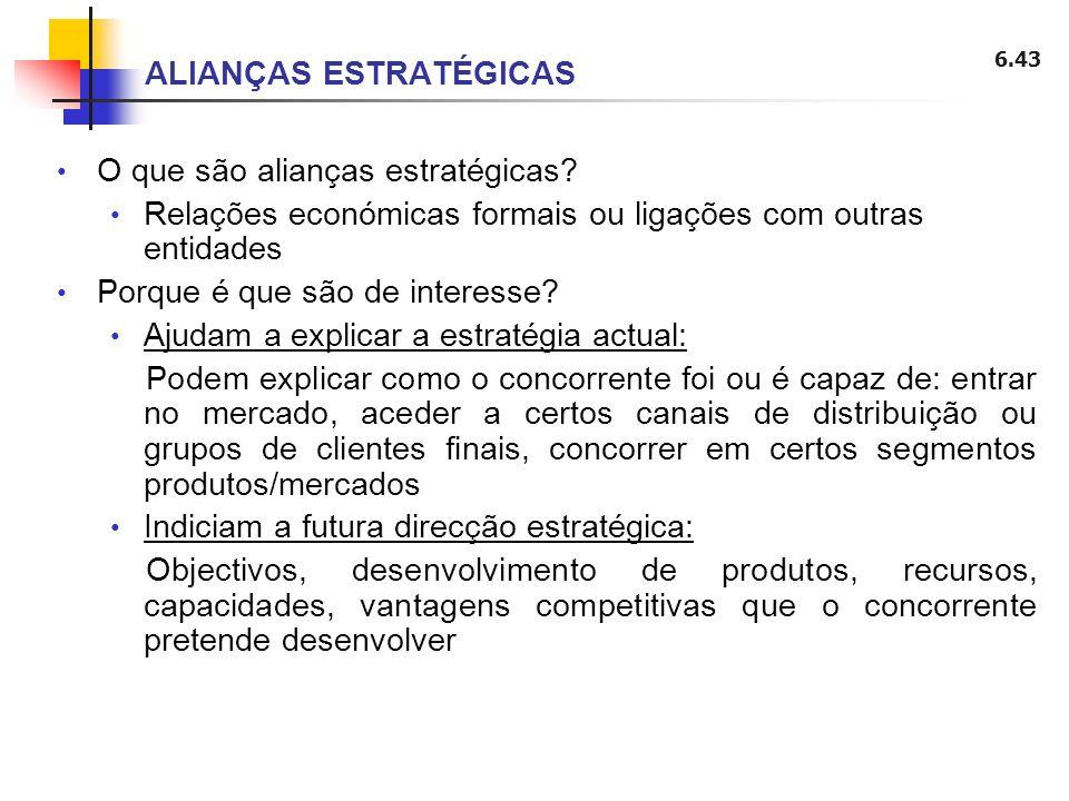 6.43 ALIANÇAS ESTRATÉGICAS O que são alianças estratégicas? Relações económicas formais ou ligações com outras entidades Porque é que são de interesse