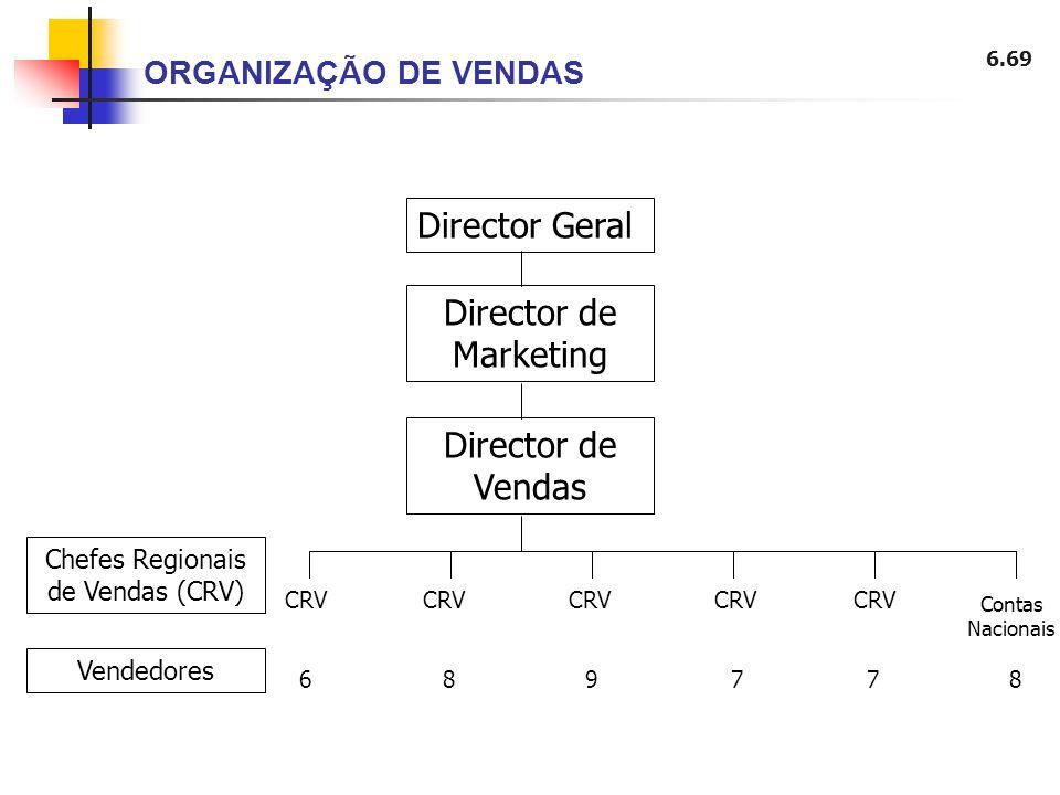 6.69 ORGANIZAÇÃO DE VENDAS Director Geral Director de Marketing Director de Vendas Chefes Regionais de Vendas (CRV) Vendedores CRV CRV CRV CRV CRV Con