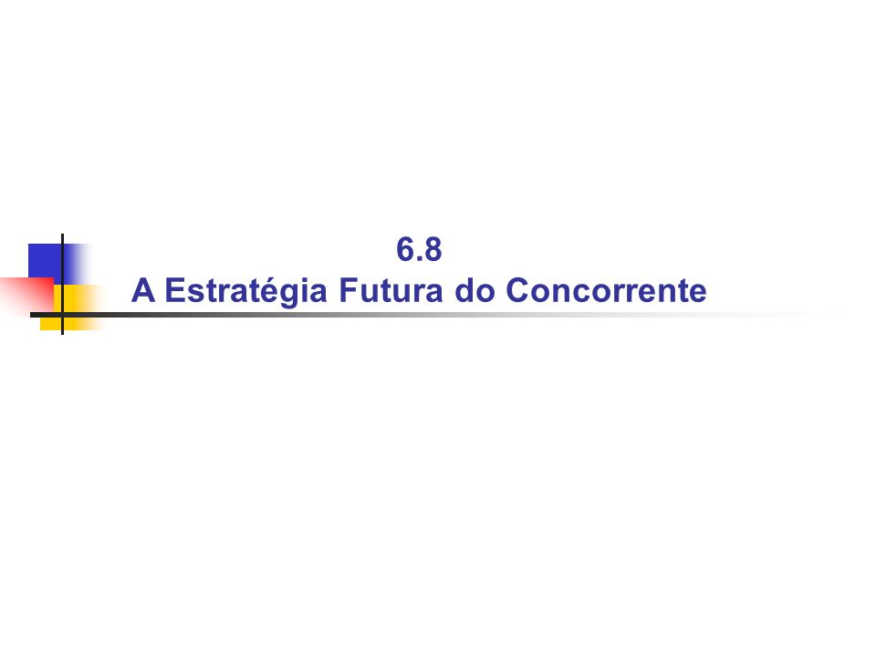 6.8 A Estratégia Futura do Concorrente