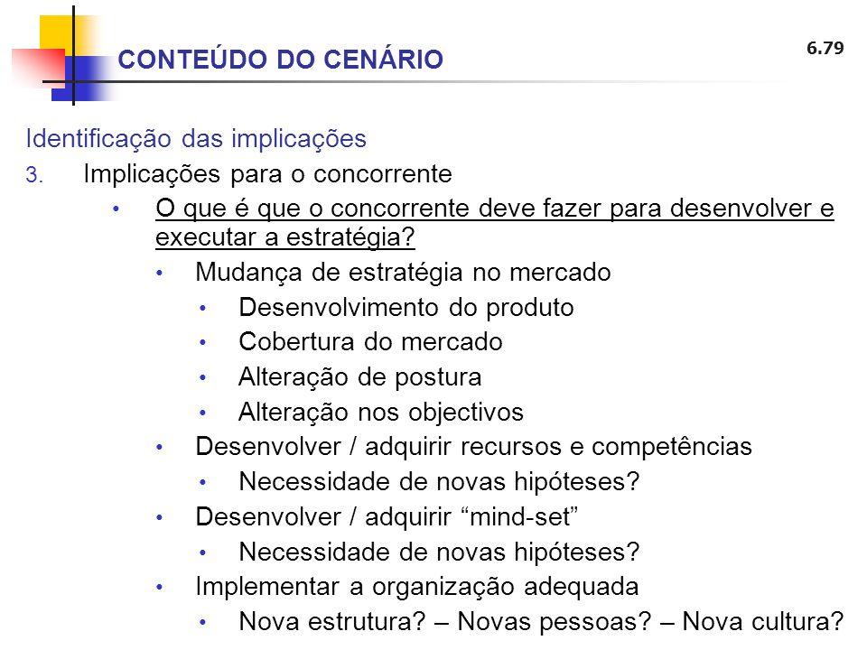 6.79 Identificação das implicações 3. Implicações para o concorrente O que é que o concorrente deve fazer para desenvolver e executar a estratégia? Mu