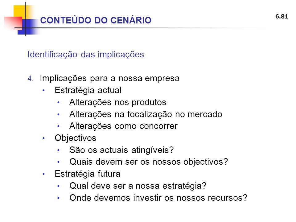 6.81 CONTEÚDO DO CENÁRIO Identificação das implicações 4. Implicações para a nossa empresa Estratégia actual Alterações nos produtos Alterações na foc