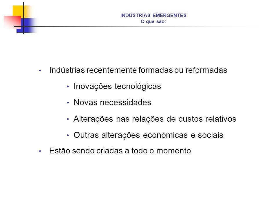 INDÚSTRIAS EMERGENTES O que são: Indústrias recentemente formadas ou reformadas Inovações tecnológicas Novas necessidades Alterações nas relações de c