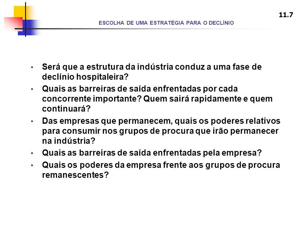 ESCOLHA DE UMA ESTRATÉGIA PARA O DECLÍNIO Será que a estrutura da indústria conduz a uma fase de declínio hospitaleira? Quais as barreiras de saída en