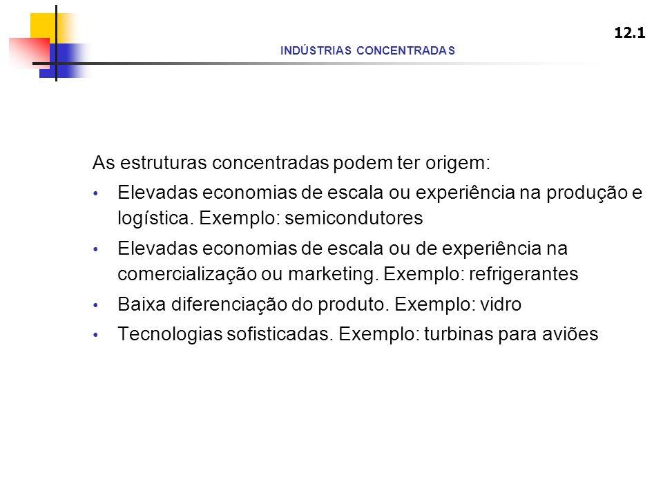 INDÚSTRIAS CONCENTRADAS As estruturas concentradas podem ter origem: Elevadas economias de escala ou experiência na produção e logística. Exemplo: sem