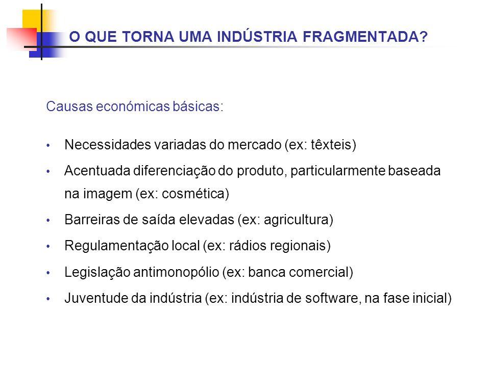 Causas económicas básicas: Necessidades variadas do mercado (ex: têxteis) Acentuada diferenciação do produto, particularmente baseada na imagem (ex: c